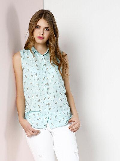 COLINS зеленый женский рубашки короткий рукав<br>Пол: женский; Цвет: зеленая мята; Размер INT: XS;