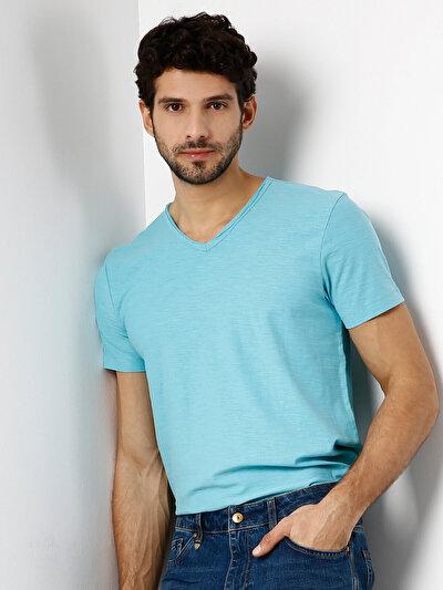 COLINS  мужской футболки короткий рукав<br>Пол: мужской; Цвет: туркуаз; Размер INT: XXL;