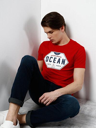 COLINS красный мужской футболки короткий рукав<br>Пол: мужской; Цвет: красный; Размер INT: S;