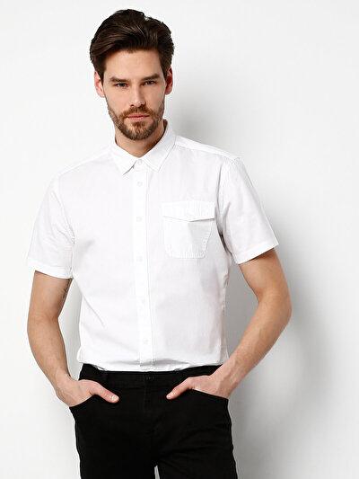 COLINS белый мужской рубашки короткий рукав<br>Пол: мужской; Цвет: белый; Размер INT: M;