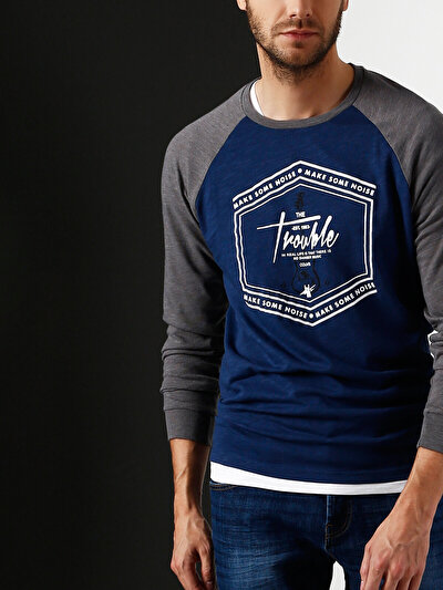 COLINS синий мужской футболки длинный рукав<br>Пол: мужской; Цвет: синий; Размер INT: M;