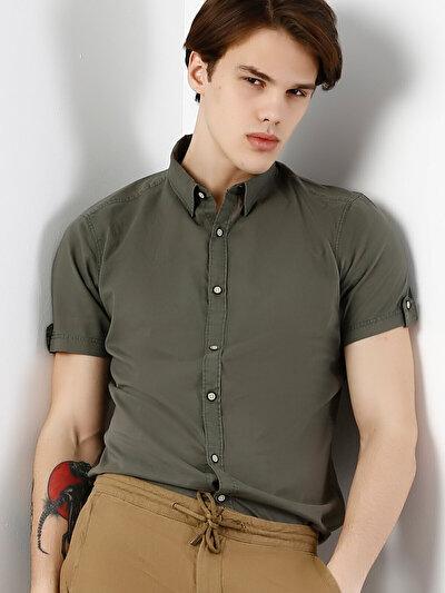 COLINS хаки мужской рубашки короткий рукав<br>Пол: мужской; Цвет: хаки; Размер INT: M;