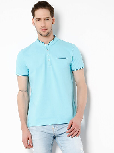 COLINS синий бирюзовый мужской футболки-поло к. рукав<br>Пол: мужской; Цвет: синий бирюзовый; Размер INT: M;