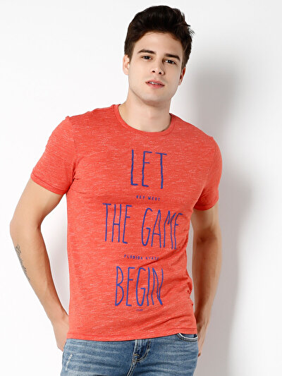 COLINS кораловый мужской футболки короткий рукав<br>Пол: мужской; Цвет: коралл меланж; Размер INT: L;