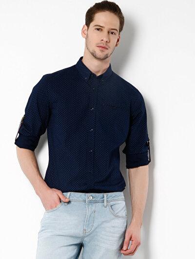 COLINS синий мужской рубашки длинний рукав<br>Пол: мужской; Цвет: темно-синий; Размер INT: L;