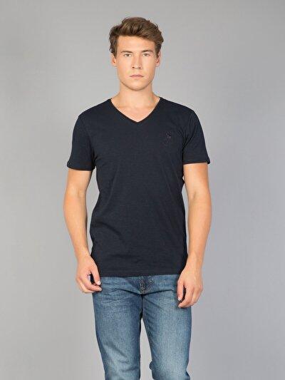 COLINS синий мужской футболки короткий рукав<br>Пол: мужской; Цвет: темно-синий; Размер INT: S;