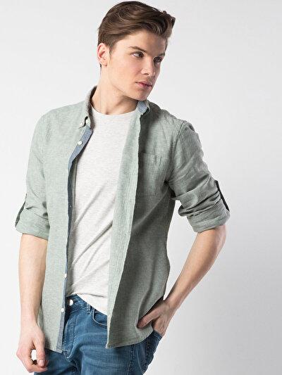 COLINS зеленый мужской рубашки длинний рукав<br>Пол: мужской; Цвет: зеленый; Размер INT: S;
