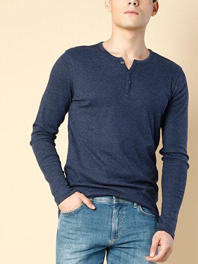 COLINS синий мужской футболки длинный рукав<br>Пол: мужской; Цвет: синий меланж; Размер INT: M;