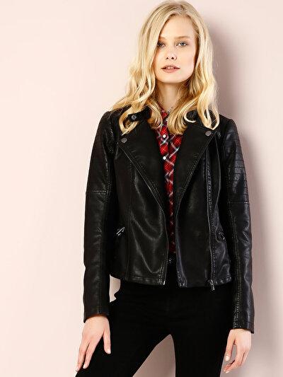 COLINS черный женский куртки-pu<br>Пол: женский; Цвет: черный; Размер INT: M;