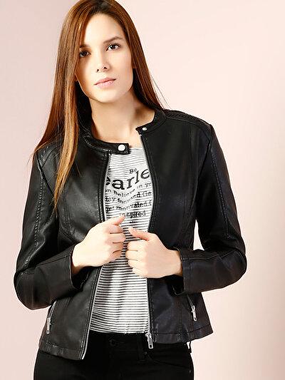 COLINS черный женский куртки-pu<br>Пол: женский; Цвет: черный; Размер INT: L;