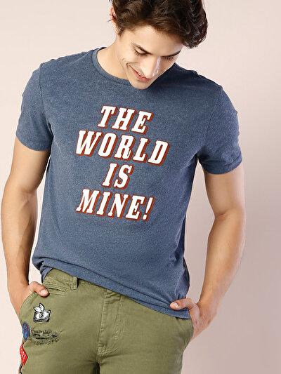 COLINS синий мужской футболки короткий рукав<br>Пол: мужской; Цвет: синий меланж; Размер INT: XXL;