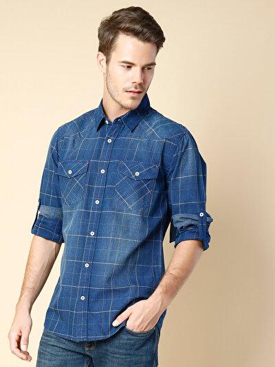 COLINS синий мужской рубашки длинний рукав<br>Пол: мужской; Цвет: синий; Размер INT: L;
