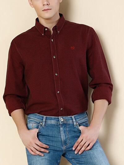 COLINS пурпурный мужской рубашки длинний рукав<br>Пол: мужской; Цвет: сливовый; Размер INT: L;
