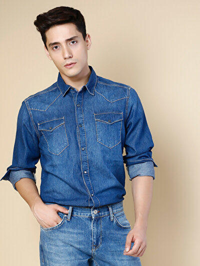 COLINS  мужской рубашки длинний рукав<br>Пол: мужской; Цвет: етторе уош; Размер INT: M;
