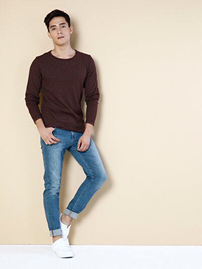 COLINS бордовый мужской футболки длинный рукав<br>Пол: мужской; Цвет: бордовый; Размер INT: XXL;