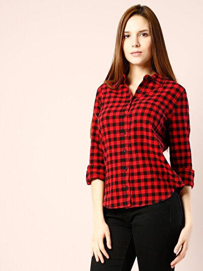 COLINS красный женский рубашки длинний рукав<br>Пол: женский; Цвет: красный; Размер INT: XL;