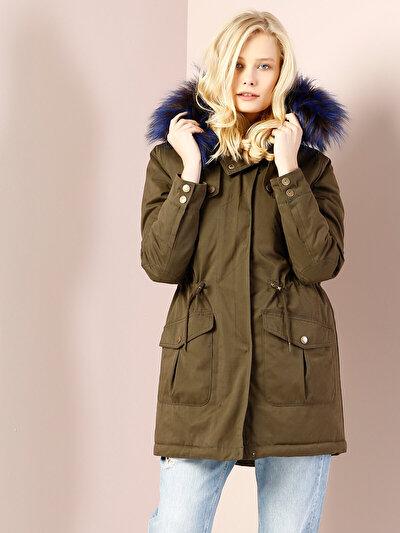 COLINS хаки женский пальто<br>Пол: женский; Цвет: хаки; Размер INT: S;