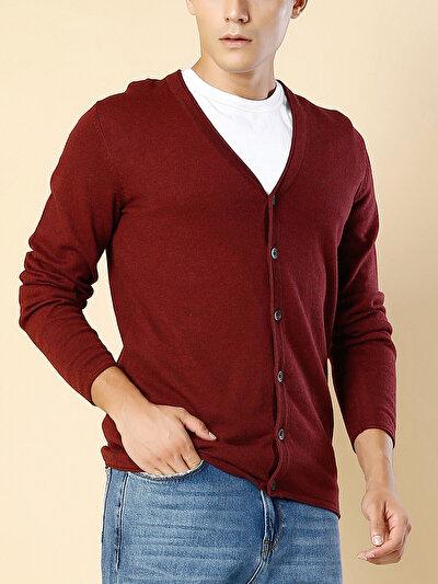 COLINS бордовый мужской кардиганы<br>Пол: мужской; Цвет: бордовый меланж; Размер INT: L;