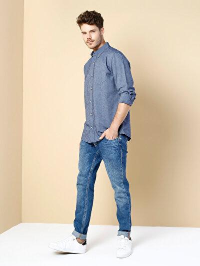 COLINS синий мужской рубашки длинний рукав<br>Пол: мужской; Цвет: синий; Размер INT: XXL;