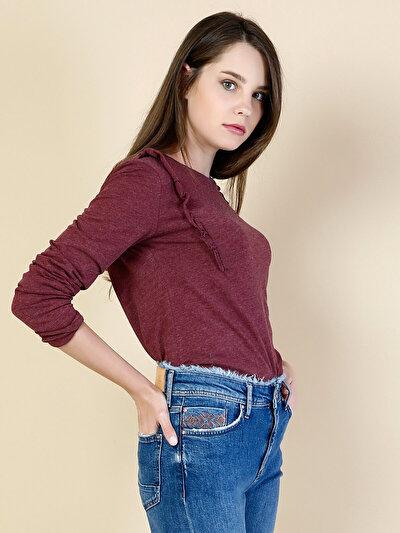 COLINS бордовый женский футболки длинный рукав<br>Пол: женский; Цвет: бордовый меланж; Размер INT: M;