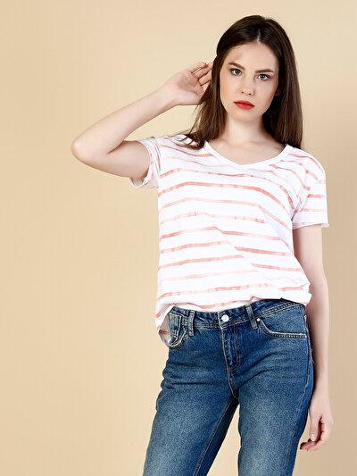 COLINS кораловый женский футболки короткий рукав<br>Пол: женский; Цвет: кораловый; Размер INT: XL;