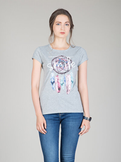 COLINS серый женский футболки короткий рукав<br>Пол: женский; Цвет: смешанный серый; Размер INT: M;