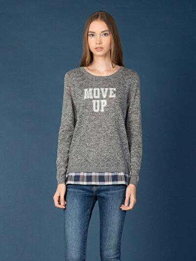 COLINS серый женский свитеры<br>Пол: женский; Цвет: тёмно-серый меланж; Размер INT: XS;