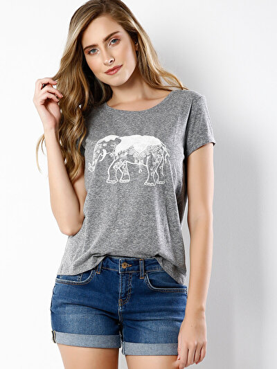 COLINS серый женский футболки короткий рукав<br>Пол: женский; Цвет: тёмно-серый меланж; Размер INT: L;