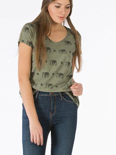 COLINS  женский футболки короткий рукав<br>Пол: женский; Цвет: хаки меланж; Размер INT: S;