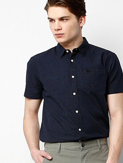 COLINS синий мужской рубашки короткий рукав<br>Пол: мужской; Цвет: синий; Размер INT: M;