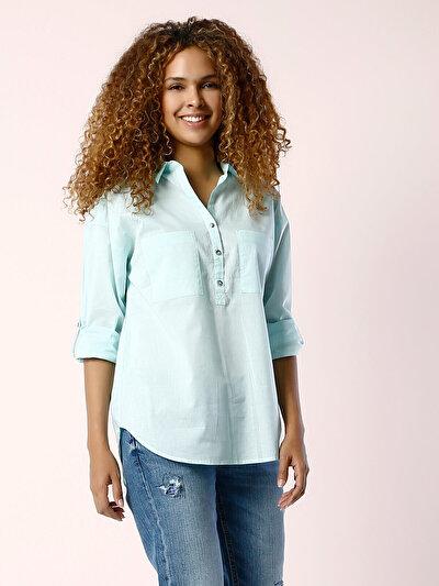 COLINS зеленый женский рубашки длинний рукав<br>Пол: женский; Цвет: зеленая вода; Размер INT: XL;