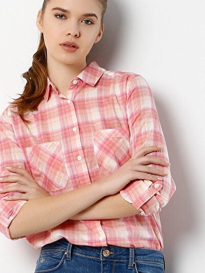 COLINS лосось женский рубашки длинний рукав<br>Пол: женский; Цвет: лосось; Размер INT: S;