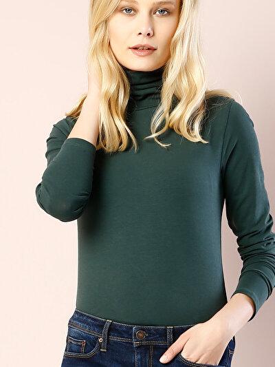COLINS зеленый женский футболки длинный рукав<br>Пол: женский; Цвет: синевато-зелёный; Размер INT: XS;