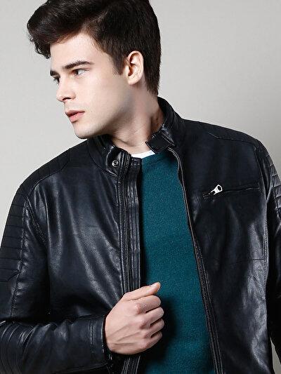 COLINS черный мужской куртки-pu<br>Пол: мужской; Цвет: черный; Размер INT: XL;