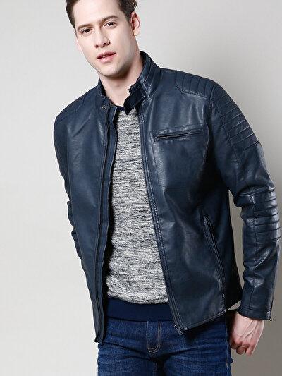 COLINS синий мужской куртки-pu<br>Пол: мужской; Цвет: темно-синий; Размер INT: S;