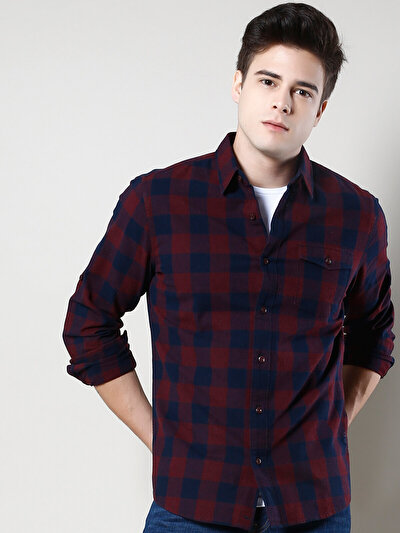 COLINS бордовый мужской рубашки длинний рукав<br>Пол: мужской; Цвет: бордовый; Размер INT: L;