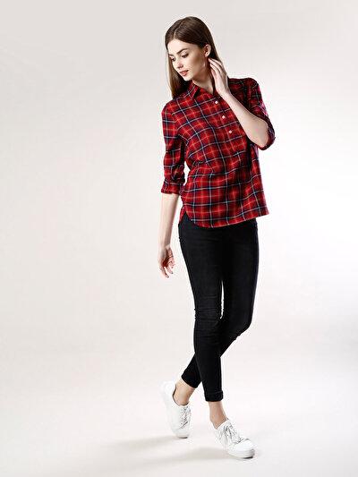 COLINS красный женский рубашки длинний рукав<br>Пол: женский; Цвет: красный; Размер INT: XS;