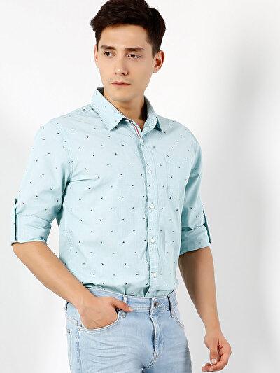 COLINS зеленый мужской рубашки длинний рукав<br>Пол: мужской; Цвет: зеленая мята; Размер INT: M;