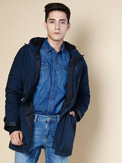 COLINS синий мужской пальто<br>Пол: мужской; Цвет: синий; Размер INT: L;