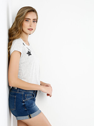 COLINS серый женский футболки короткий рукав<br>Пол: женский; Цвет: светло серый меланг; Размер INT: XS;