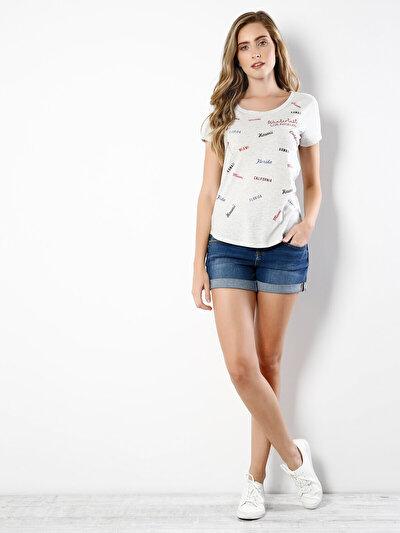 COLINS серый женский футболки короткий рукав<br>Пол: женский; Цвет: светло серый меланг; Размер INT: L;