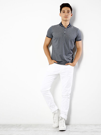 COLINS синий мужской футболки-поло к. рукав<br>Пол: мужской; Цвет: синий меланж; Размер INT: XL;