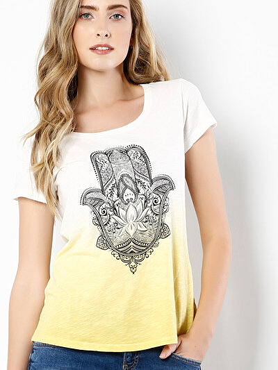 COLINS желтый женский футболки короткий рукав<br>Пол: женский; Цвет: желтый; Размер INT: M;