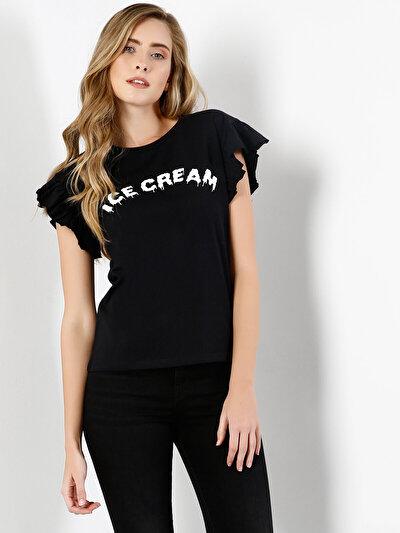 COLINS черный женский футболки короткий рукав<br>Пол: женский; Цвет: черный; Размер INT: S;