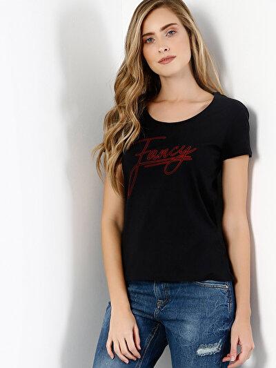COLINS черный женский футболки короткий рукав<br>Пол: женский; Цвет: черный; Размер INT: XS;