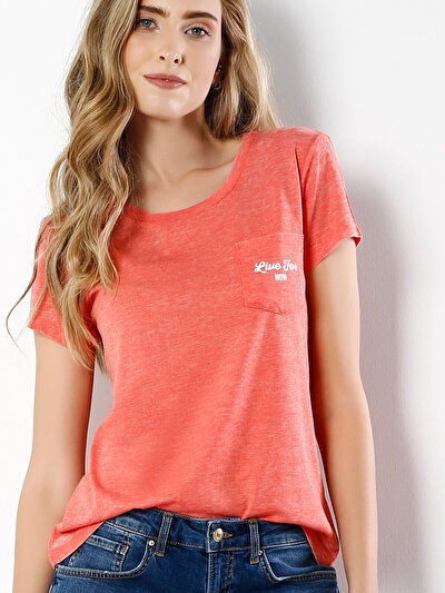 COLINS кораловый женский футболки короткий рукав<br>Пол: женский; Цвет: коралл меланж; Размер INT: S;