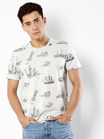 COLINS белый мужской футболки короткий рукав<br>Пол: мужской; Цвет: снег меланж; Размер INT: XL;