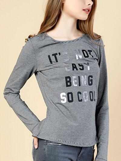 COLINS черный женский футболки длинный рукав<br>Пол: женский; Цвет: черный; Размер INT: L;