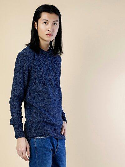 COLINS синий мужской свитеры<br>Пол: мужской; Цвет: синий меланж; Размер INT: L;