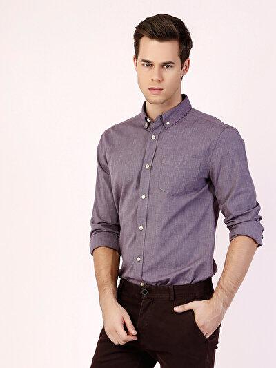 COLINS пурпурный мужской рубашки длинний рукав<br>Пол: мужской; Цвет: сливовый; Размер INT: S;